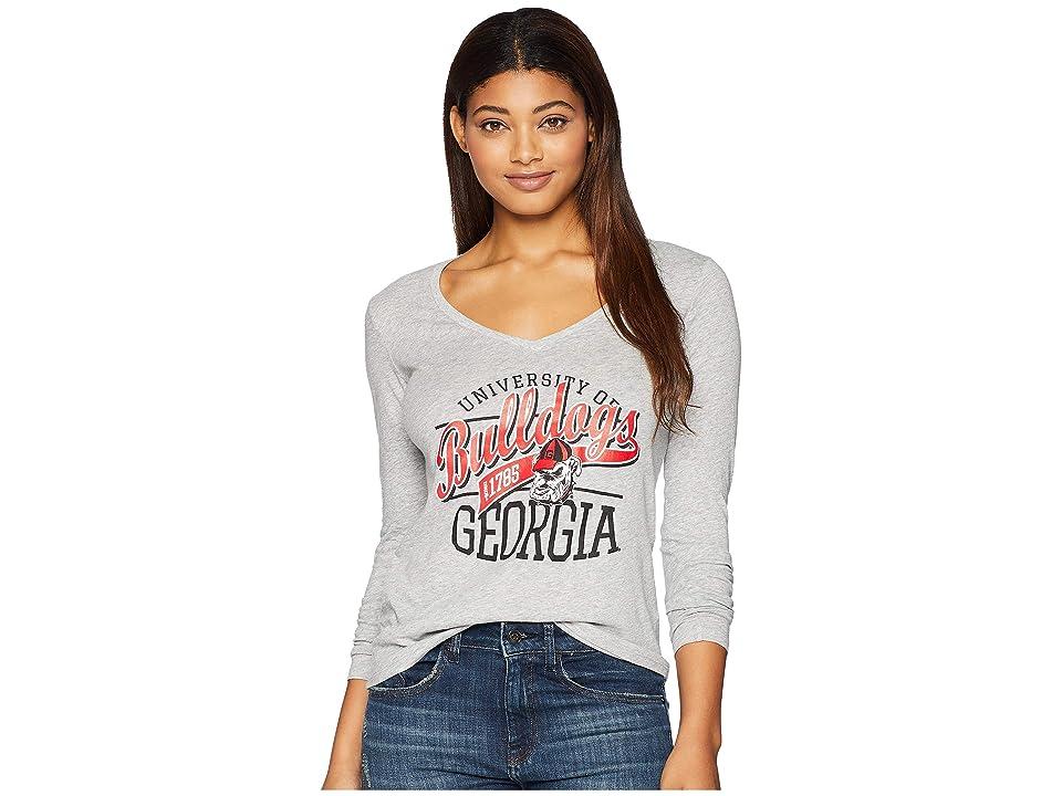 Champion College Georgia Bulldogs Long Sleeve V-Neck Tee (Oxford Grey) Girl