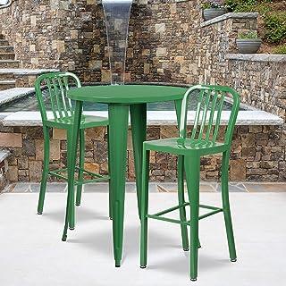 "Flash Furniture Commercial Grade 2 Pack 30"" High Green Metal Indoor-Outdoor Barstool with Vertical Slat Back"