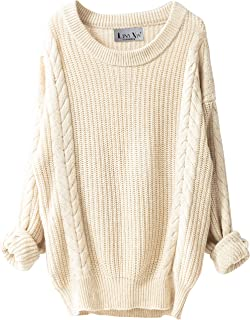 Women's Cashmere Oversized Loose Knitted Crew Neck Long...