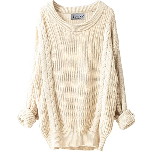 e25dde31da Liny Xin Women s Cashmere Oversized Loose Knitted Crew Neck Long Sleeve  Winter Warm Wool Pullover Long