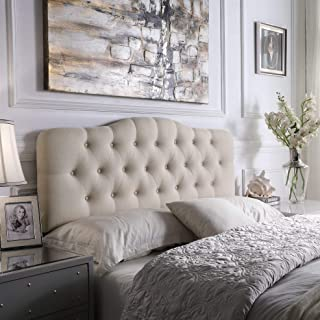 Rosevera Home Givanna Upholstered Tufted Button Linen Headboard-King Size in Beige