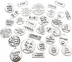 30pcs Inspiration Words Charms Craft Supplies Mixed Pendants Beads Charms Pendants for Crafting, Jewelry Findings Making Accessory For DIY Necklace Bracelet M44 (Inspiration Charms)