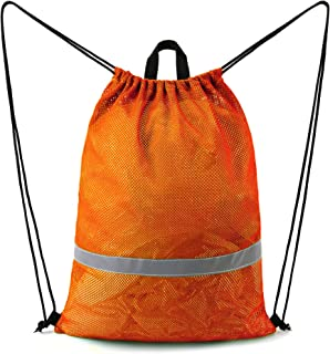 "BeeGreen Orange Mesh Bag Drawstring Backpack Reflective Sports String Bag with Zipper Pocket 17.4""W x 23""L Sports Gym Bag ..."