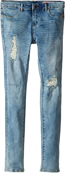 Denim Distressed Skinny Jeans in Good Vibes (Big Kids)
