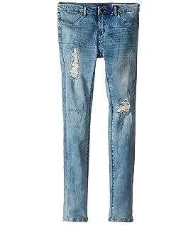 Denim Distressed Skinny Jeans in Good Vibes (Big Kids)