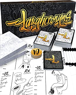 Laughcronyms Party Game for Adults or Families – Hilarious Game of Fast Funny Drawing and Quick Creative Thinking (Adult Game or Family Game for Groups of 4 - 20 Players)