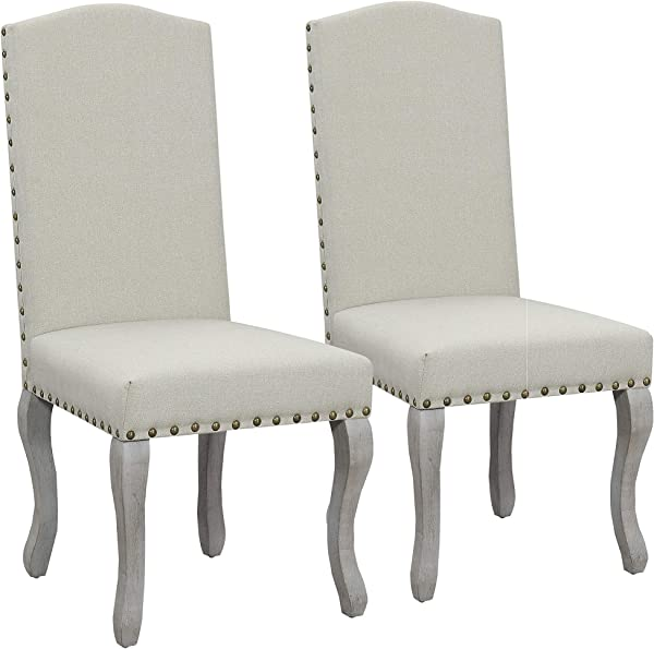 Nancy Victorian Nail Head Accented Light Beige Fabric Accent Dining Chair Set Of 2