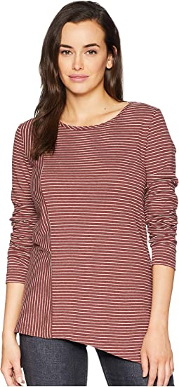 Heathered Jersey Stripe Asymmetrical Hem Long Sleeve Tee