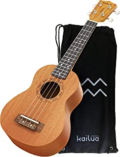 Kailua 4 String Soprano Ukulele - Hand Crafted Mahogany Wood Vintage Style Hawaiian Musical Instrument - Best Ukulele to Learn How to Play - Black Nylon Bag Included as Carrying Case