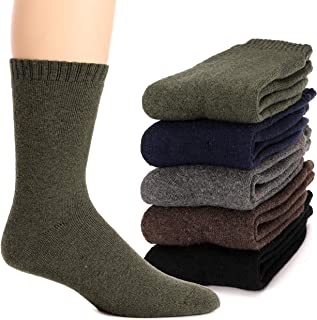 Mens Wool Socks Thermal Heavy Thick Fuzzy Soft Warm Winter Socks 5 Pairs