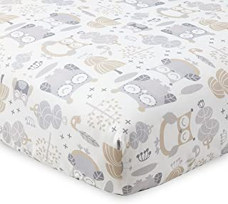 Levtex Home Baby Night Owl Collection Print Fitted Crib Sheet, Taupe/Grey