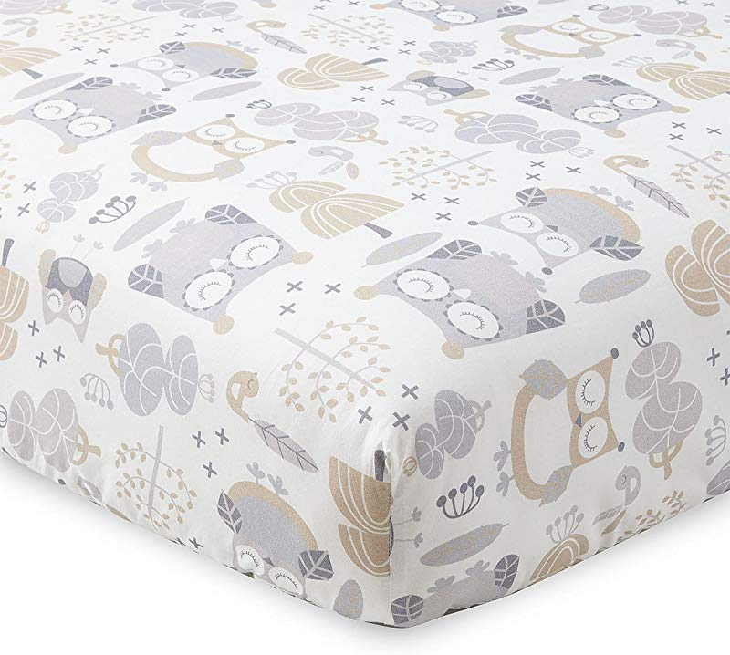 Levtex Home Baby Night Owl Collection Print Fitted Crib Sheet Taupe Grey