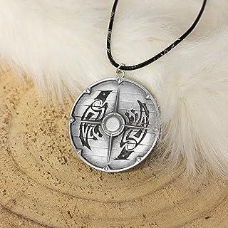 Assassin's Creed Valhalla Eivor scudo Vikings collana ciondolo, portachiavi o spilla con corvi Huginn e Muninn in resina e...