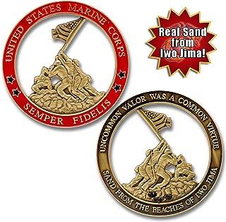 Marine Corps Iwo Jima USMC Challenge Coin with Real Sand of Iwo Jima