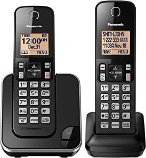 PANASONIC Expandable Cordless Phone System with Amber Backlit Display and Call Block – 2 Handsets – KX-TGC352B (Black)