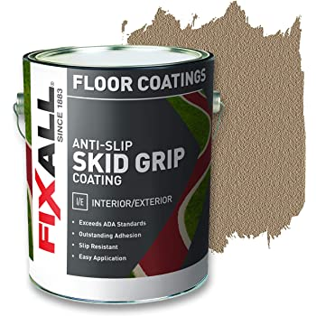 FIXALL Skid Grip Anti-Slip Paint, 100% Acrylic Skid-Resistant Textured Coating - F06510 - 1 Gallon, Color: Camel