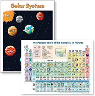 Periodic Table Poster & Solar System Poster for Kids (18x24 Laminated) Ideal Kids Learning Posters (2 Posters Included in Set)