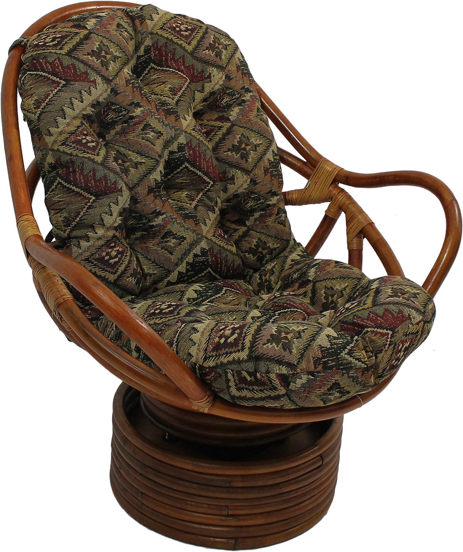 Blazing Needles Patterned Tapestry Swivel Rocker Chair Cushion, 48