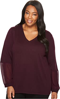 Plus Size V-Neck with Chiffon Cuff Blouse