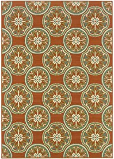 Oriental Weavers Floral Pattern Area Rug in Orange and Ivory (13 ft. L x 8 ft. 6 in. W)