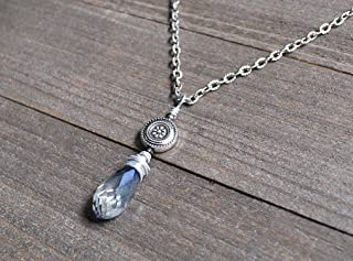 Blue Topaz Briolette Pendant Light Blue Teardrop Necklace Silver Wire Wrapped Floral Motif Necklace December Birthstone