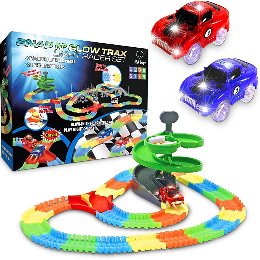 Glow Race Tracks for Boys – 360pk Flexible Glow in The Dark Magic Snap Race Tracks for Kids w/ Light Up Car Toys, Car Racing Track and Ramp Set