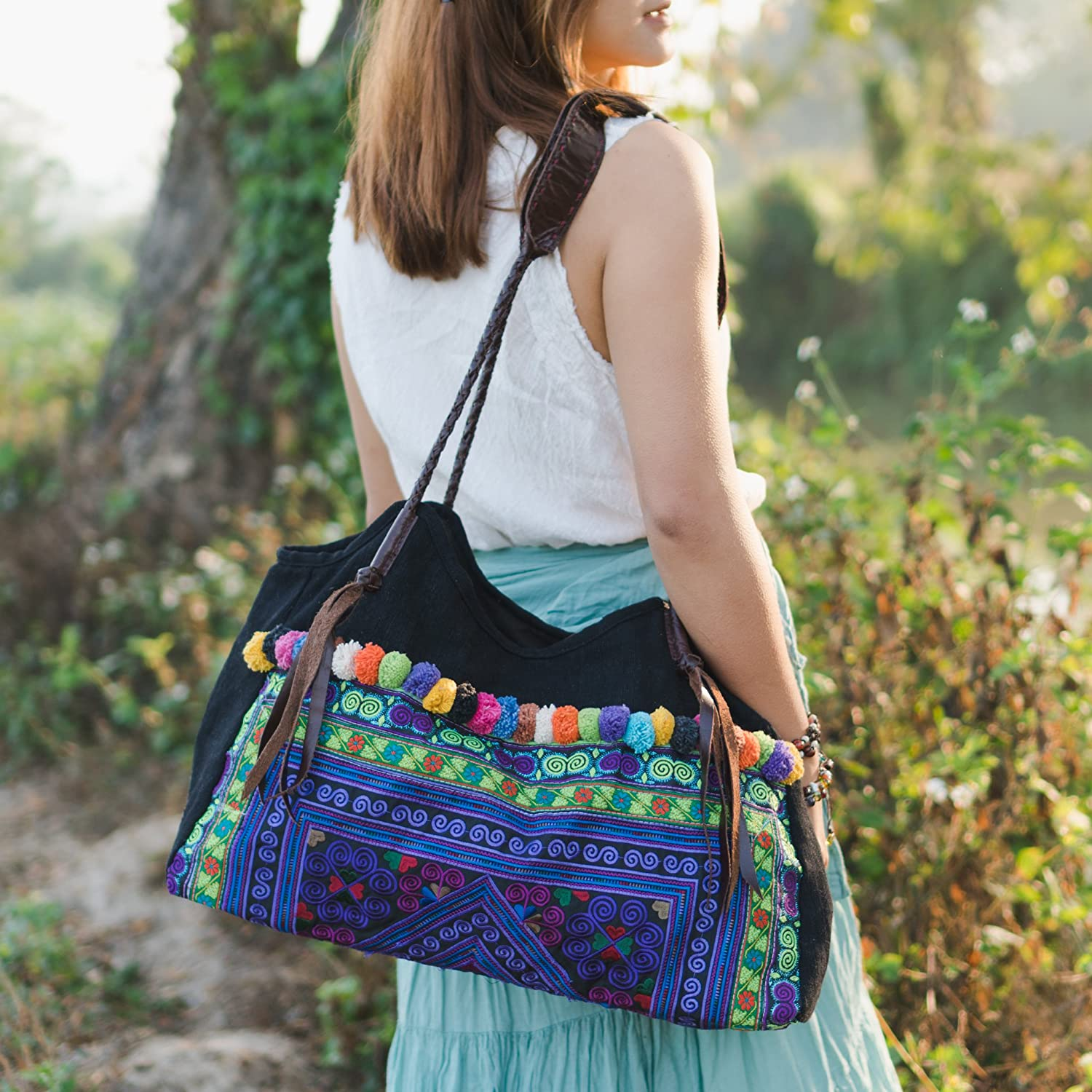 Changnoi Purple Diamond Max 46% OFF Tote Bag Pom Hmong with Embroidered low-pricing