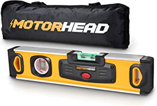 MOTORHEAD 12-Inch 0° & 90° Degree LED Torpedo Level, Water, Dust & Shock Resistant, Magnetic Bottom, Includes Bag, High-Visibility, Solid Milled Aluminum, USA-Based Support