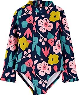 Girls' Long Sleeve Back Zipper One Piece Swimsuit