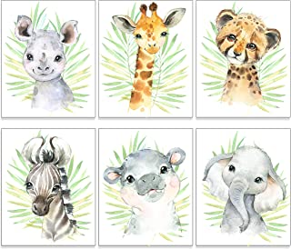Safari Animal Nursery Decor Art (Set of 6) UNFRAMED Wall Print, 8 x 10
