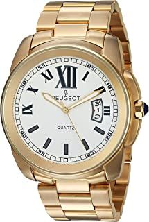 Peugeot Men's 14K Gold Plated Luxury Quartz Watch with Stainless-Steel Strap, 23 (Model: 1047G)