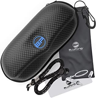 BLUPOND Semi Hard EVA Glasses Case with Hanging Hook 5 IN 1 Set for Sports Sunglasses