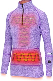 Venture Heat Women's Heated Shirt Thermal Underwear with Battery Pack - Long John, 1/4 Zip Electric Base Layer, Nomad