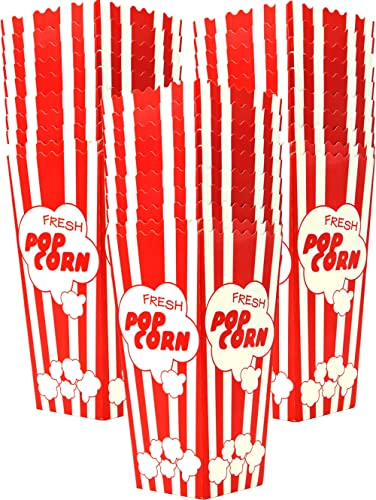Top Rated 30 Popcorn Boxes 7.75 Inches Tall & Holds 46 Oz. Old Fashion Vintage Retro Design Red & White Colored Nosta...