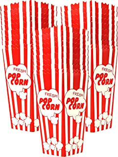 30 Popcorn Boxes 7.75 Inches Tall & Holds 46 Oz. Old Fashion Vintage Retro Design Red & White Colored Nostalgic Carnival Stripes like Popcorn Bags & Popcorn Tubs [other quantities available] Salbree