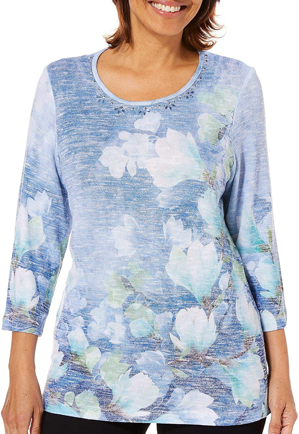 Alfred Dunner Women's Greenwich Hills Watercolor Floral Top