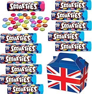 British Chocolate Candy Smarties Box - Smarties Hexatube 36g x12 FULL SIZE Smarties Chocolate Candy in a unique Gift Box and a free British Chocolate.