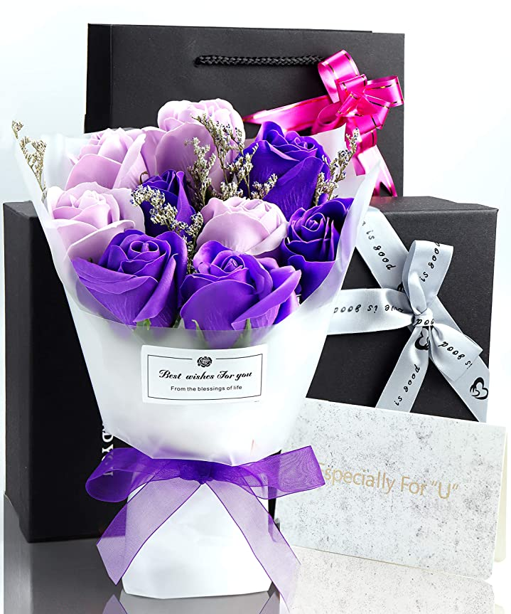 因子放棄する恥ずかしさソープフラワー 花束 プレゼント ギフト 誕生日 母の日 メッセージカード付き(パープル)