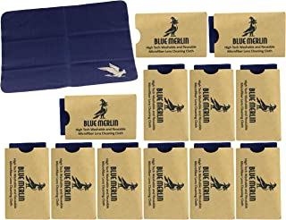 Blue Merlin Microfiber Cleaning Cloth | Eyeglass Lens Cleaner | Glasses, Phone, Camera, Computer Screen Cleaning | Safe for All Coated Lenses | 12 Pack, 6x7 Inch, Blue