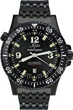 Xezo Men's Air Commando D45-BL Japanese-Automatic Diver's Pilots Watch. 2nd Time Zone. 200M WR. Black PVD Titanium Carbide Coated