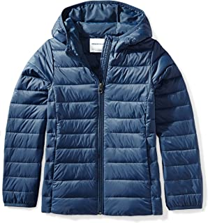 Girls' Lightweight Water-Resistant Packable Hooded Puffer Jacket