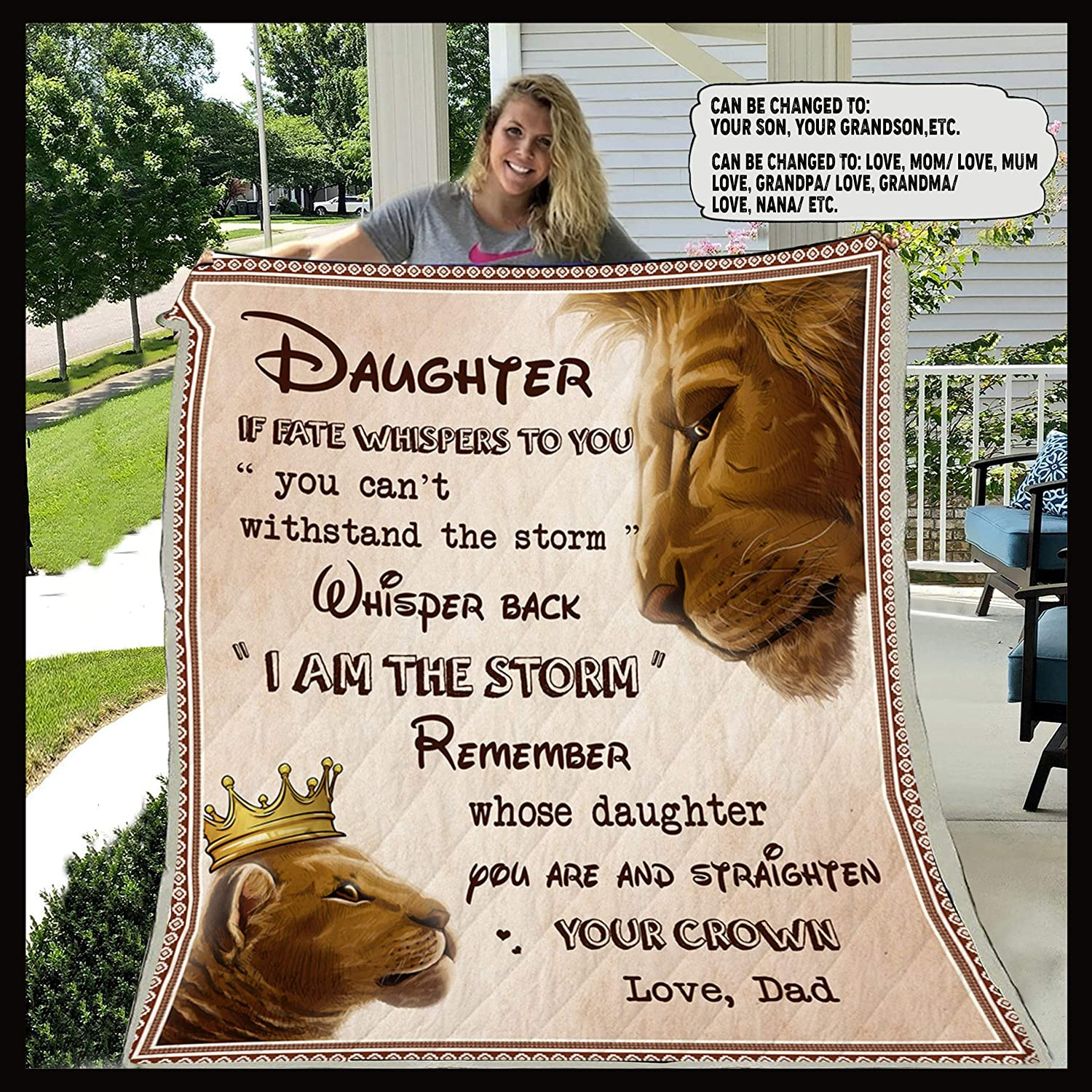 Max 43% OFF CUSTOMIZABLE LION BLANKET – DAD TO DAUGHTER – I AM THE ...