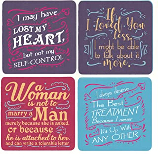 Jane Austen Emma Book Gift Coasters (Set of 4) Quotes for Jane Austen Lovers Fans 4x4 Inches Mother's Day Christmas Birthd...