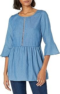 فستان قماش الدينيم بأكمام 3/4 جرس للنساء من Lucca Couture