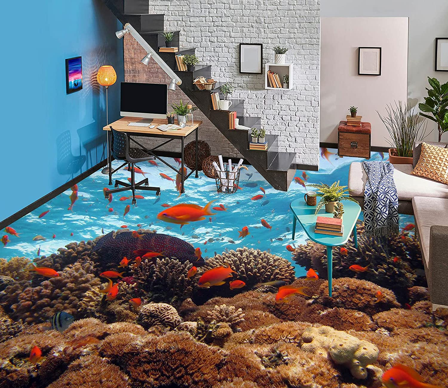 3D Coral Sea Fish Indianapolis Mall 7547 Floor Raleigh Mall A Wallpaper Decal Print Murals Wall
