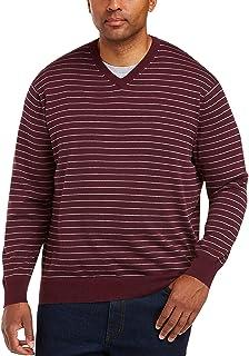 Men's V-Neck Stripe Sweater fit by DXL