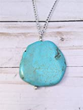 Turquoise Pendant Necklace with 32 inch Silver Chain