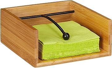 Relaxdays 竹制餐巾架,带加垫,适用于25 x 25 厘米餐巾,平桌餐巾架,自然