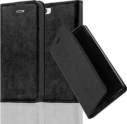 Cadorabo Hülle für Apple iPhone 5 / iPhone 5S / iPhone SE - Hülle in NACHT SCHWARZ – Handyhülle mit Magnetverschluss, Standfunktion und Kartenfach - Case Cover Schutzhülle Etui Tasche Book Klapp Style