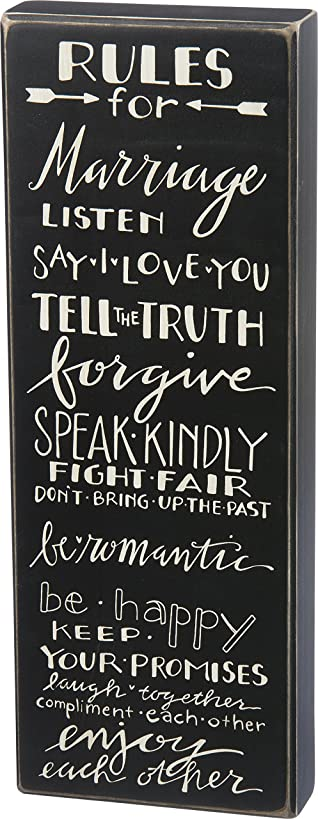 Primitives by Kathy Classic Box Sign, Rule for Marriage